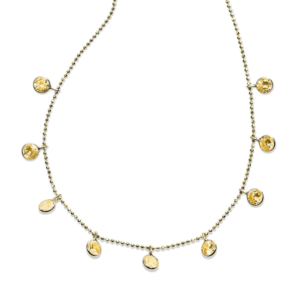 Bezel Set Citrine Drop Necklace, 18 Inches, 14K Yellow Gold