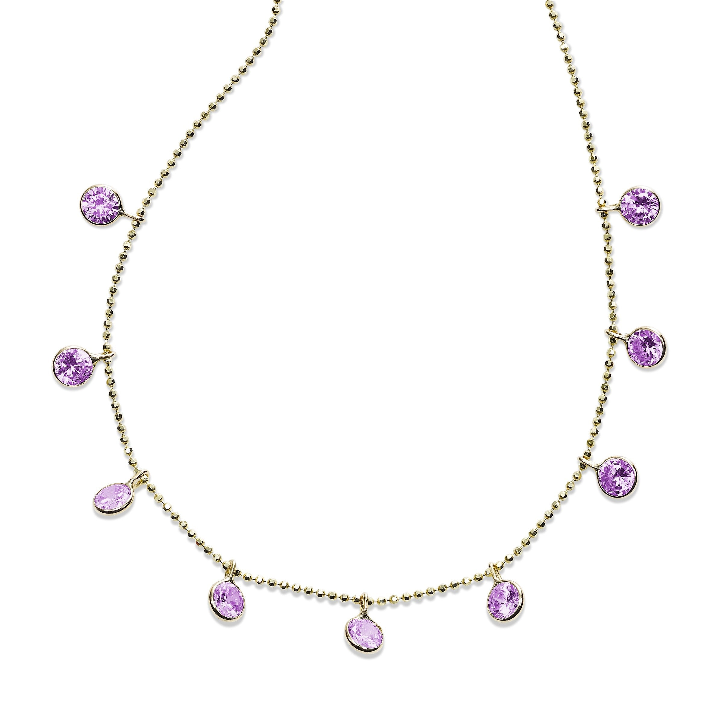 Bezel Set Amethyst Drop Necklace, 18 Inches, 14K Yellow Gold