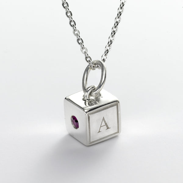 Baby Block Charm, 8 MM, Initials & Birthstone, Sterling Silver