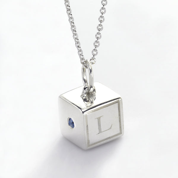 Baby Block Charm, 10 MM, Initials & Birthstone, Sterling Silver