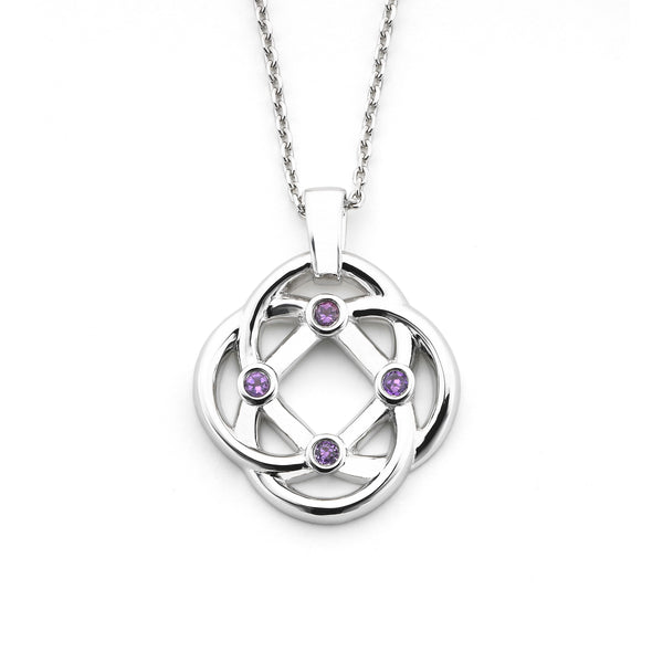 Four Corners Knot Pendant, Sterling Silver