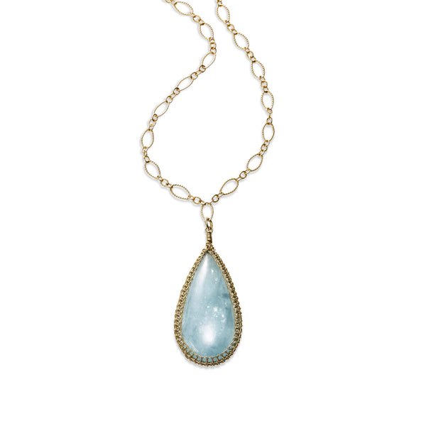 Large Pear Shape Framed Aquamarine Pendant, 14K Gold Filled