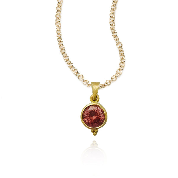 Pink Zircon Pendant, 22K Yellow Gold