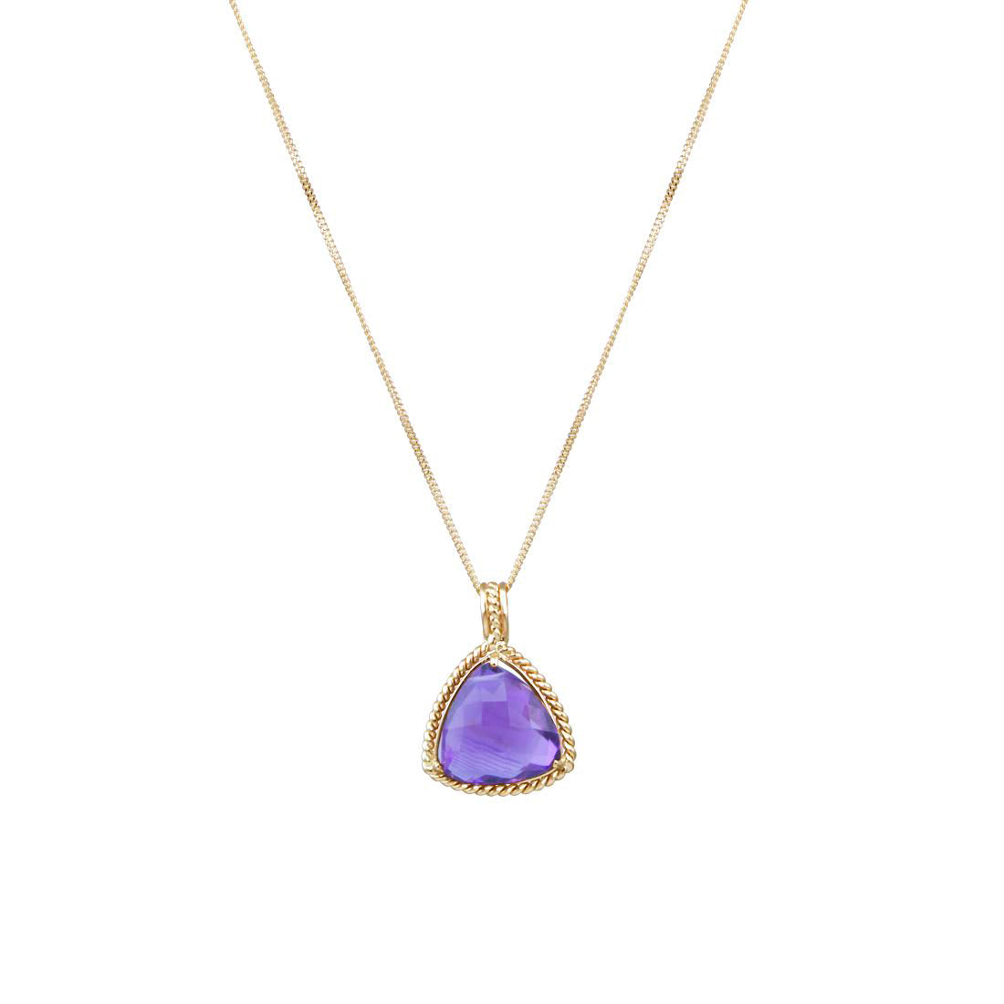 Trillion Shaped Amethyst Pendant, 14K Yellow Gold