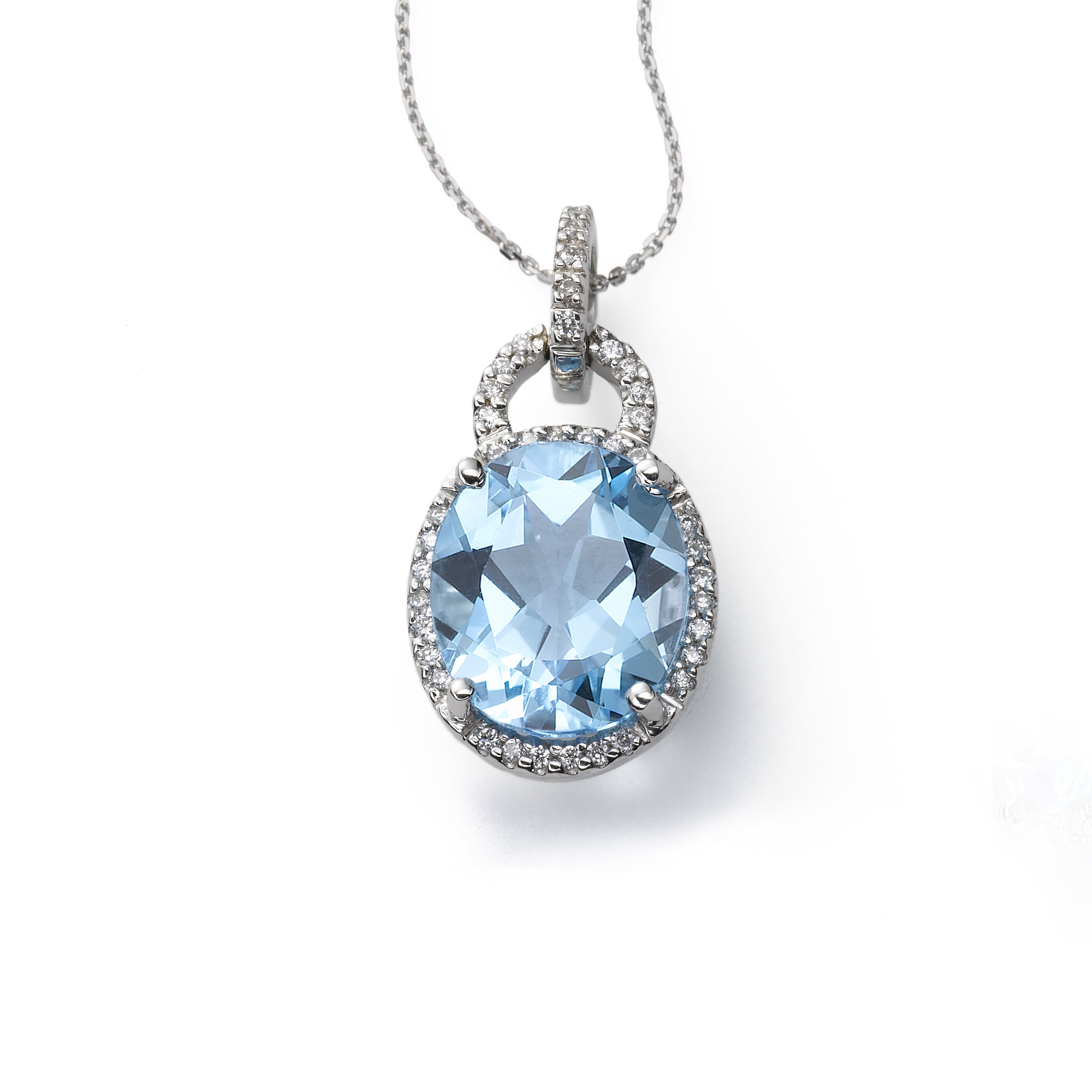 Oval Blue Topaz and Diamond Pendant, 14K White Gold