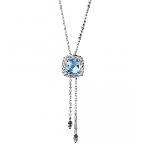 Blue Topaz Lariat Style Necklace, Sterling Silver