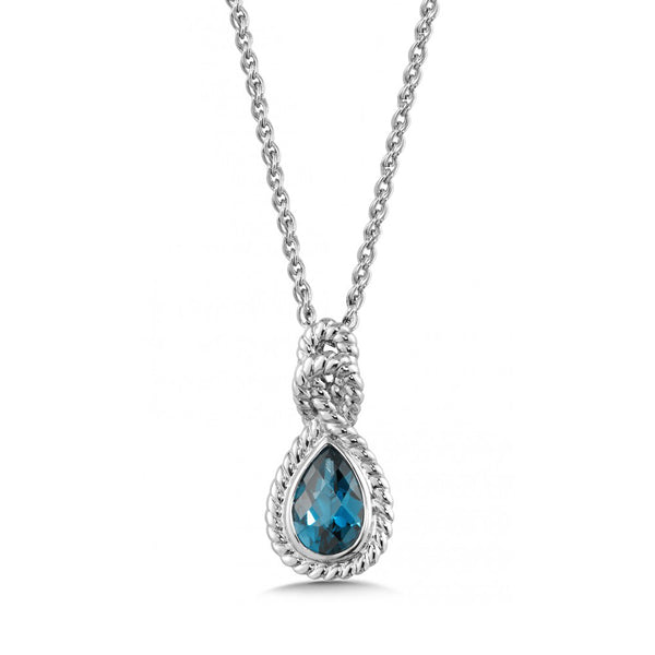 Pear Shaped Blue London Topaz Necklace, Sterling Silver