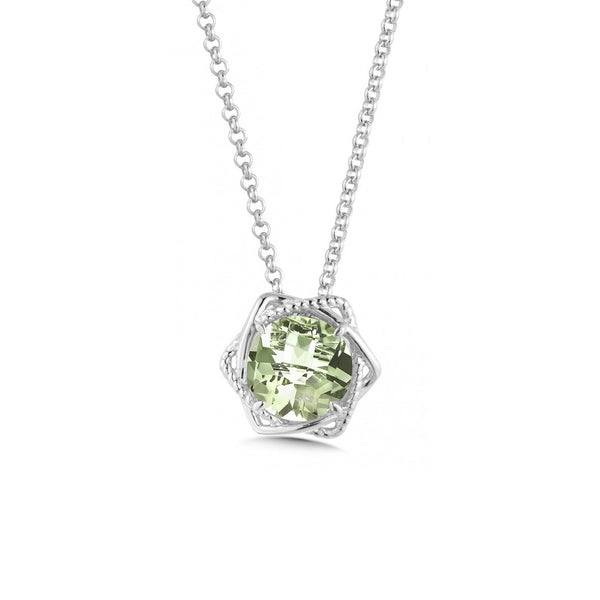 Modern Prasiolite Necklace, Sterling Silver