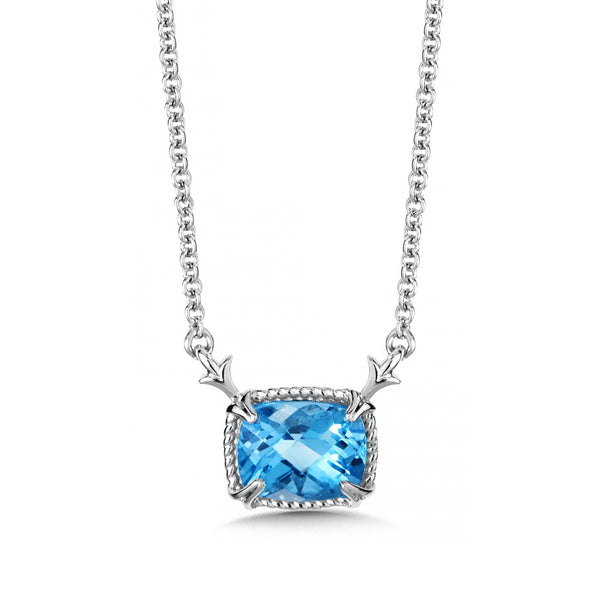 Rectangular Framed Blue Topaz Necklace, Sterling Silver