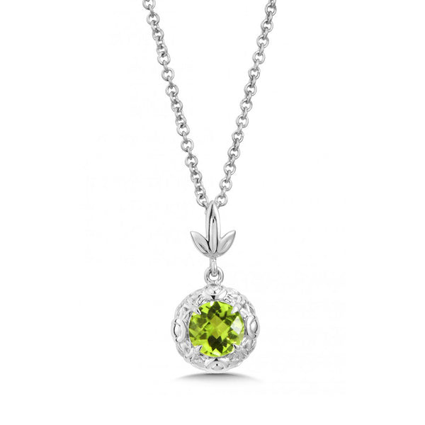 Round Faceted Peridot Pendant, Sterling Silver