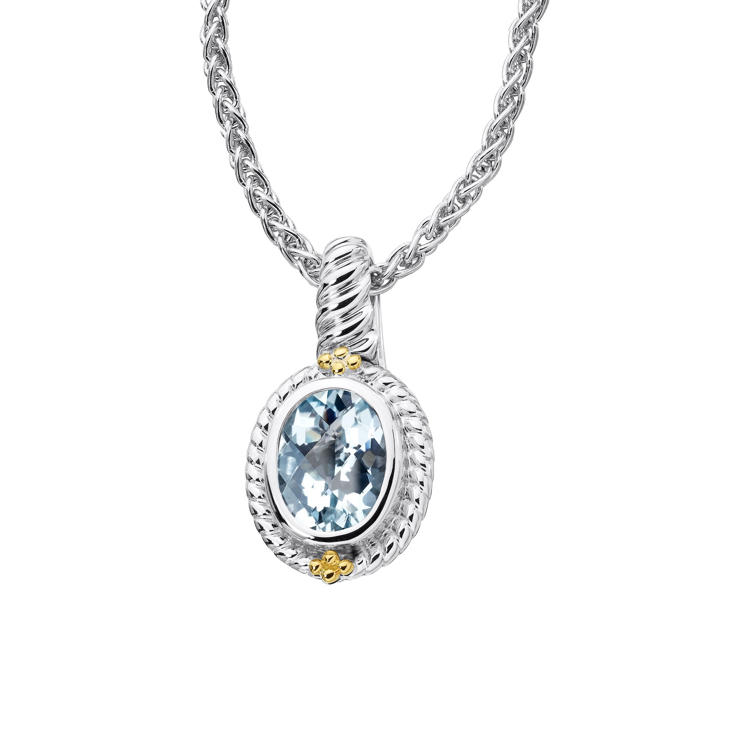 Framed Oval Aquamarine Pendant, Sterling Silver and 18K Gold
