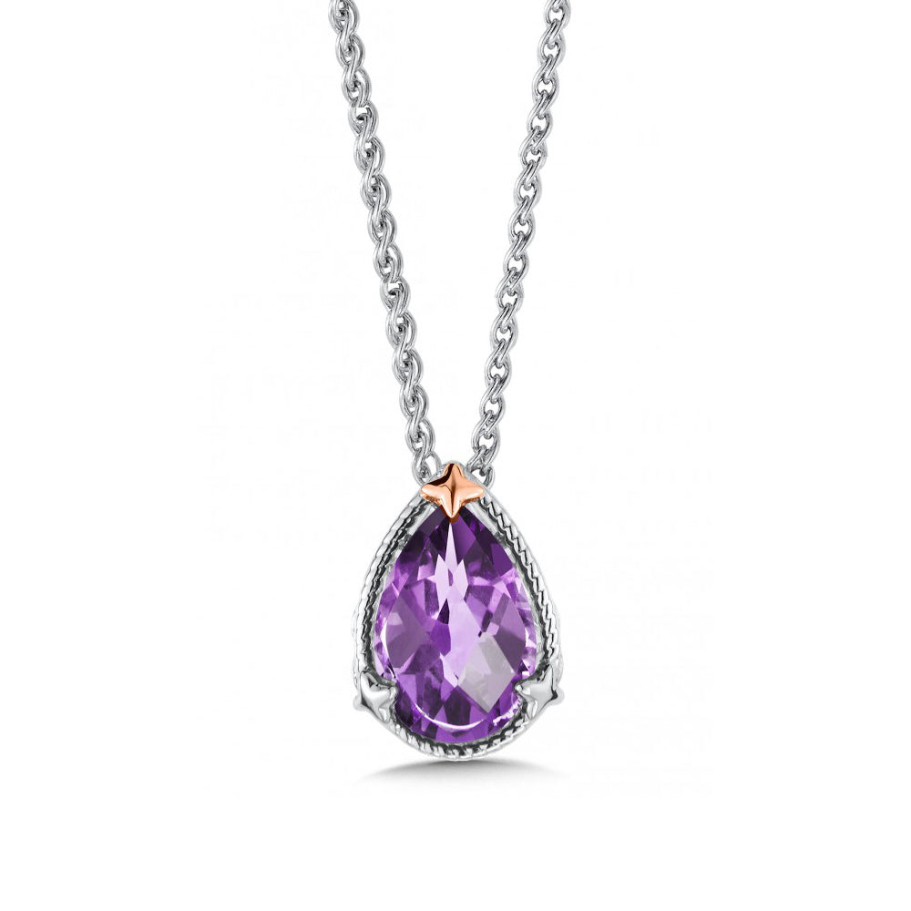 Framed Pear Shaped Amethyst Pendant, Sterling Silver