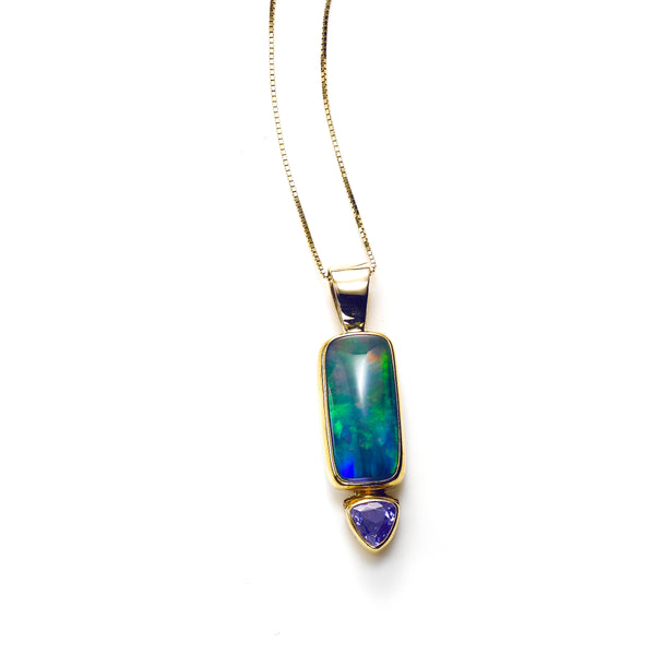 Ethiopian Opal with Tanzanite Pendant, 14K Yellow Gold
