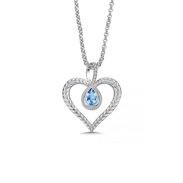 Heart Pendant with Blue Topaz Teardrop, Sterling Silver