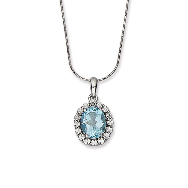 Oval Blue Topaz and Diamond Halo Pendant, Sterling Silver