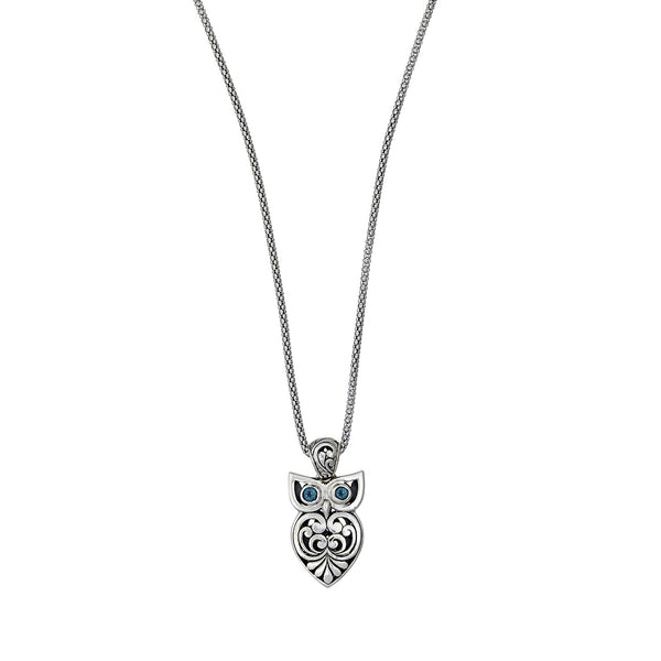Owl Design Pendant with Blue Topaz, Sterling Silver