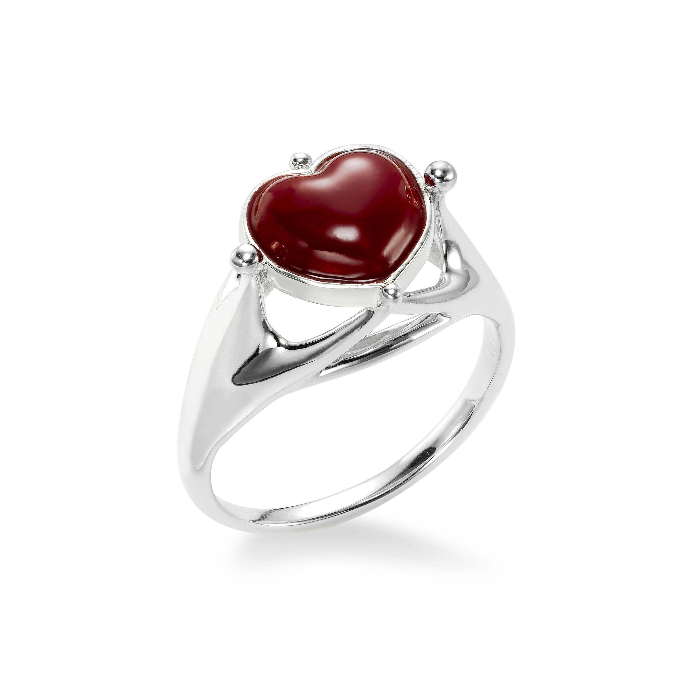 Red Enamel Heart Ring, Sterling Silver, Award Winner