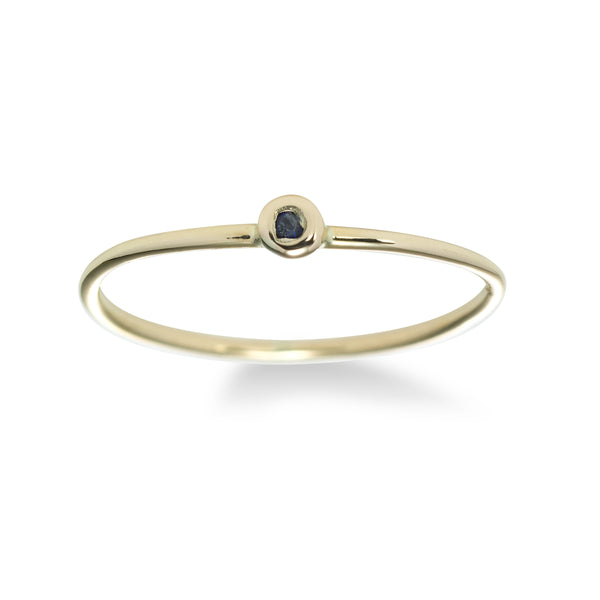 Midi-Ring with Sapphire, 14K White Gold