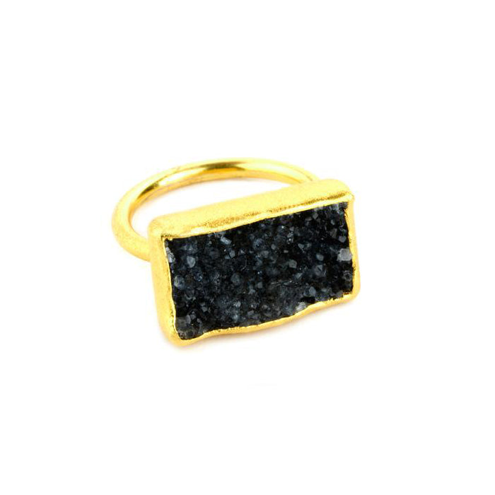 Rectangular Black Druzy Ring, 22K Gold Plate