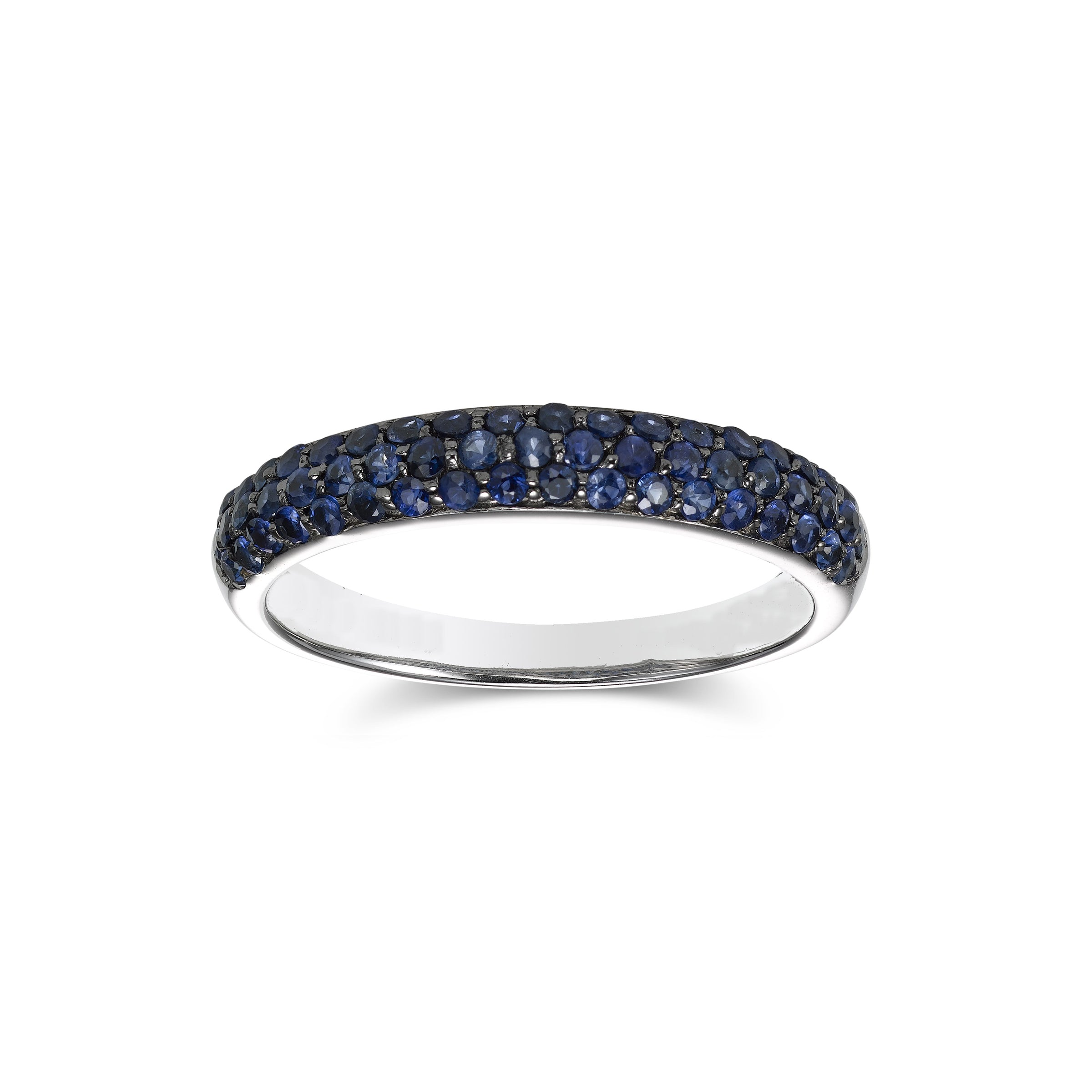 Pave Set Blue Sapphire Ring, 14K White Gold