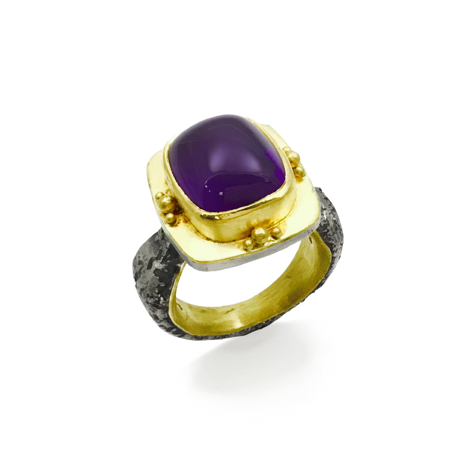 Cabochon Amethyst Ring, 22K Yellow Gold and Sterling Silver
