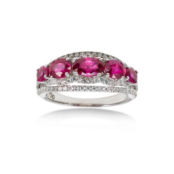 Oval Ruby and Diamond Ring, 14K White Gold