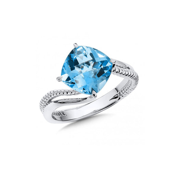 Cushion Cut Blue Topaz Ring, Sterling Silver
