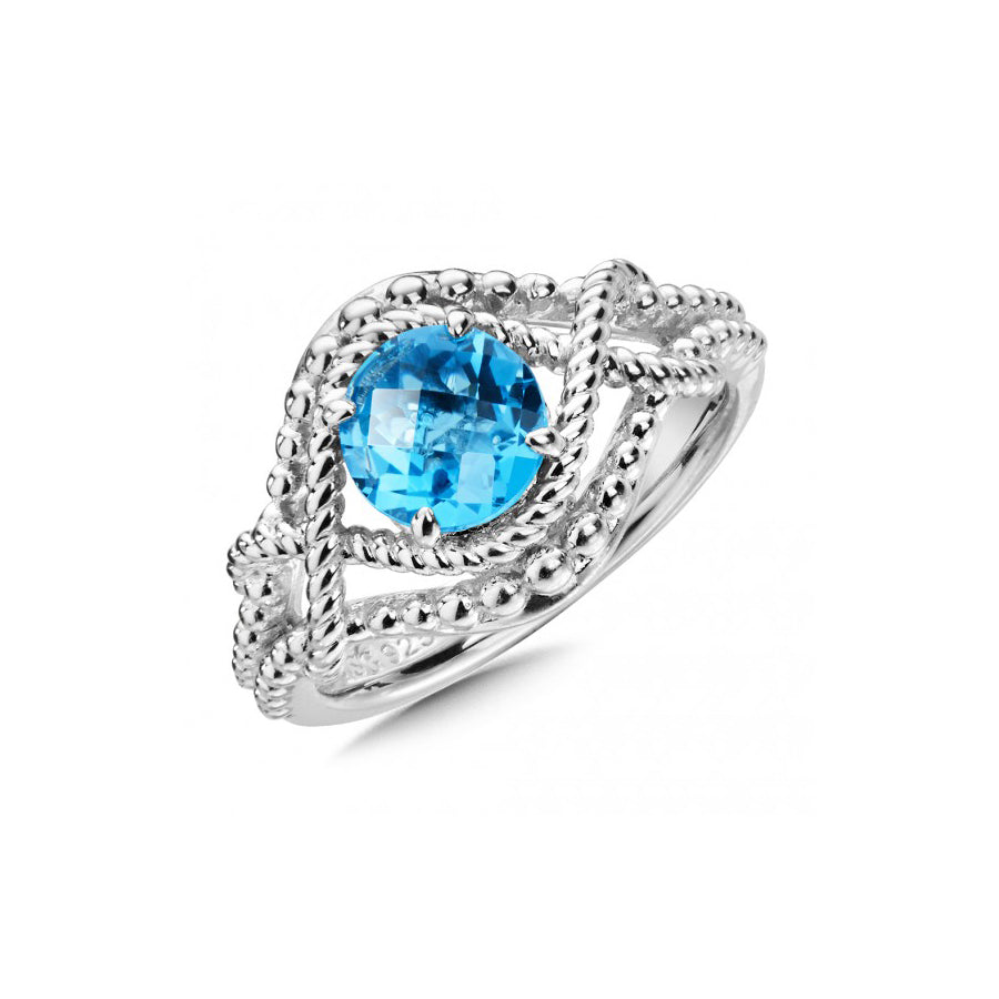 Double Frame Blue Topaz Ring, Sterling Silver