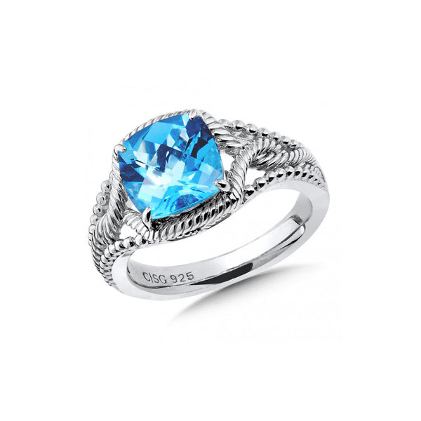 Cushion Cut Faceted Blue Topaz Ring, Sterling Silver
