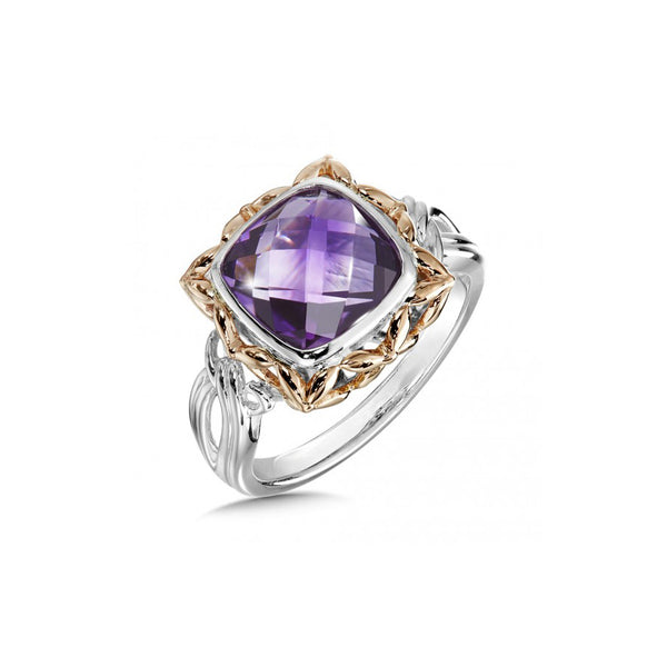 Framed Cushion Cut Amethyst Ring, Sterling Silver and Rose Gold