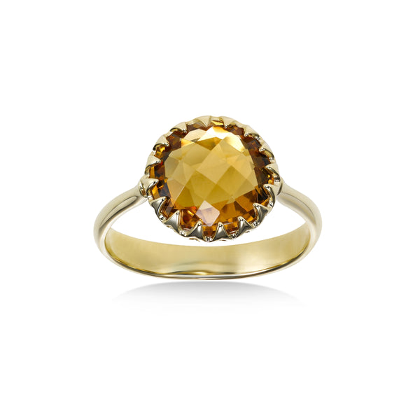 Round Faceted Citrine Ring, 14K Yellow Gold