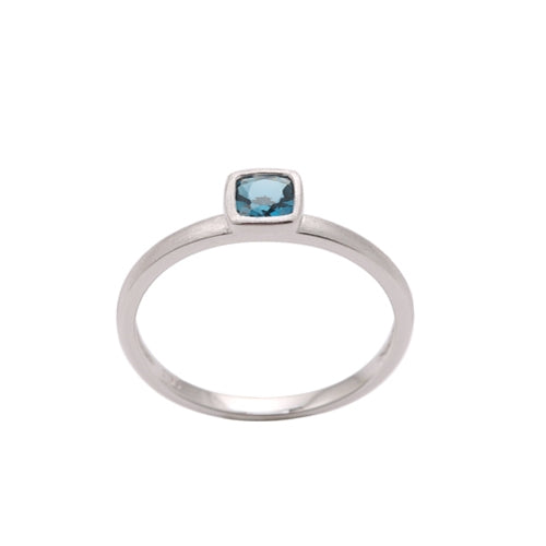 Cushion Cut Bezel Set London Blue Topaz Ring, 14K White Gold