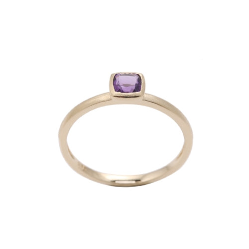 Cushion Cut Bezel Set Amethyst Ring, 14K Yellow Gold