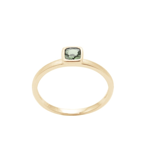 Cushion Cut Bezel Set Prasiolite Ring, 14K Yellow Gold