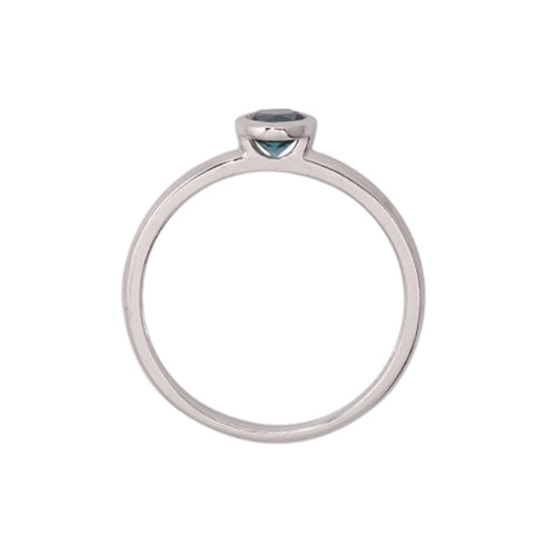 Round Bezel Set London Blue Topaz Ring, 14K White Gold