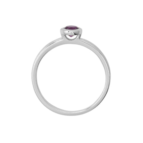 Round Bezel Set Amethyst Ring, 14K White Gold