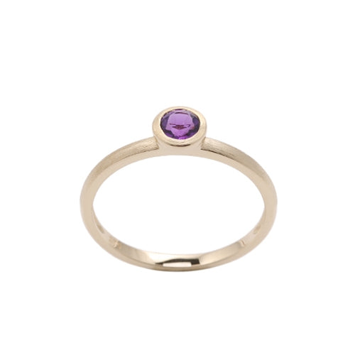 Round Bezel Set Amethyst Ring, 14K Yellow Gold