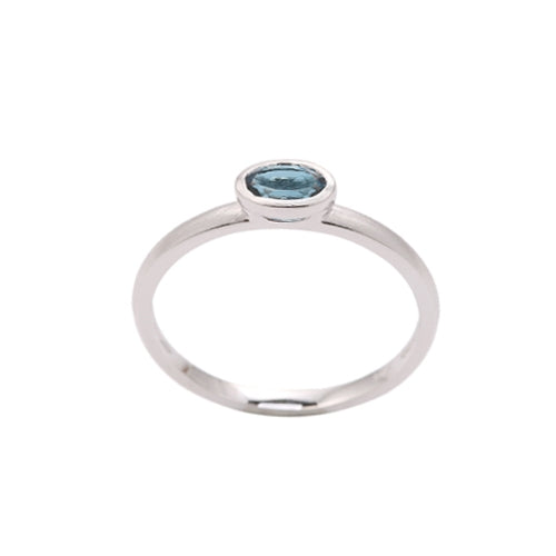 Oval Bezel Set London Blue Topaz Ring, 14K White Gold