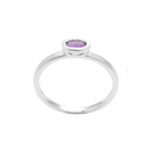Oval Bezel Set Amethyst Ring, 14K White Gold