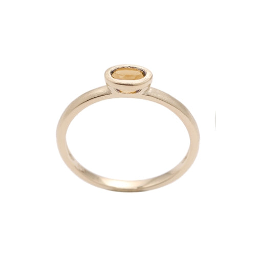 Oval Bezel Set Citrine Ring, 14K Yellow Gold