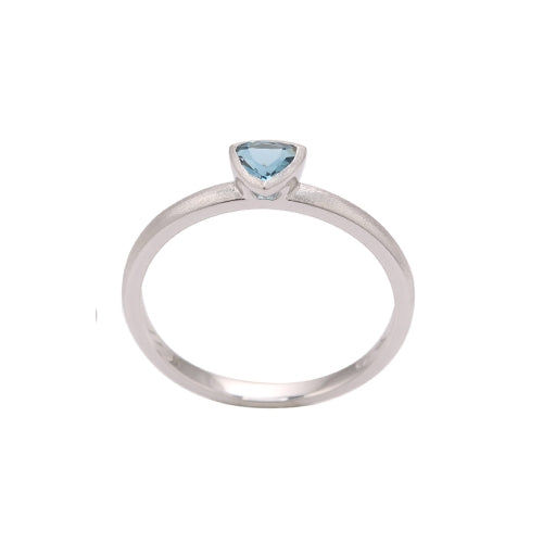 Trillion Shape Bezel Set London Blue Topaz Ring, 14K White Gold