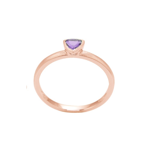 Trillion Shape Bezel Set Amethyst Ring, 14K Rose Gold