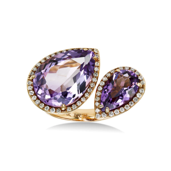 Amethyst and Diamond Bypass Ring, 14K Rose Gold