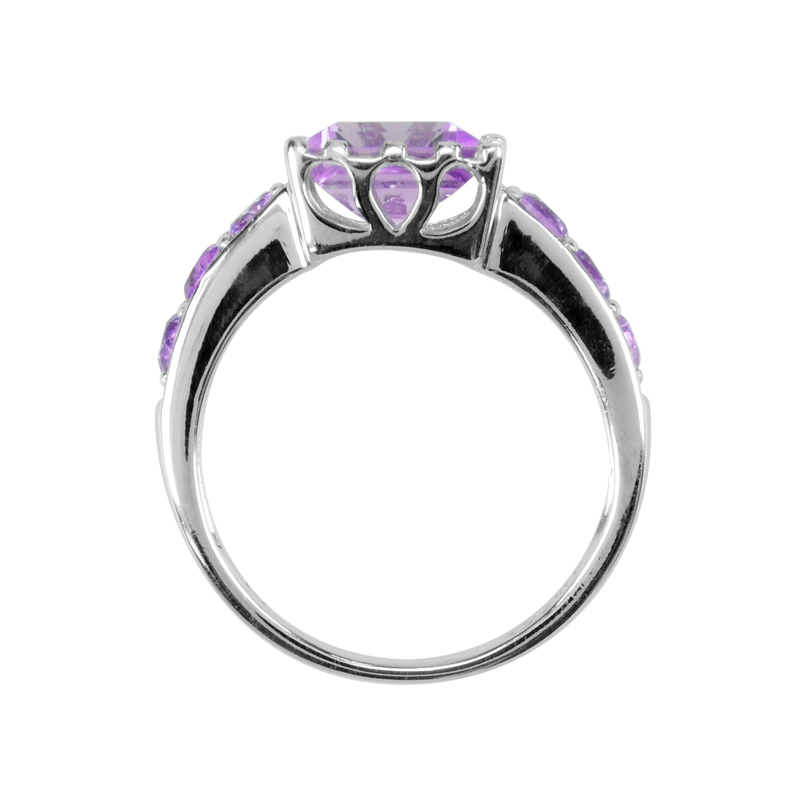 Square Cut Amethyst Ring, Sterling Silver