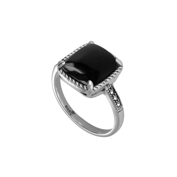 Cushion Shape Black Onyx and Marcasite Ring, Sterling Silver