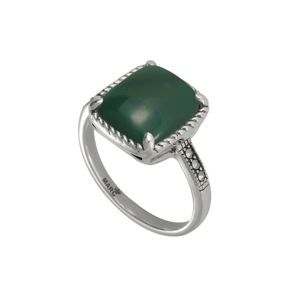 Cushion Shape Green Agate and Marcasite Ring, Sterling Silver