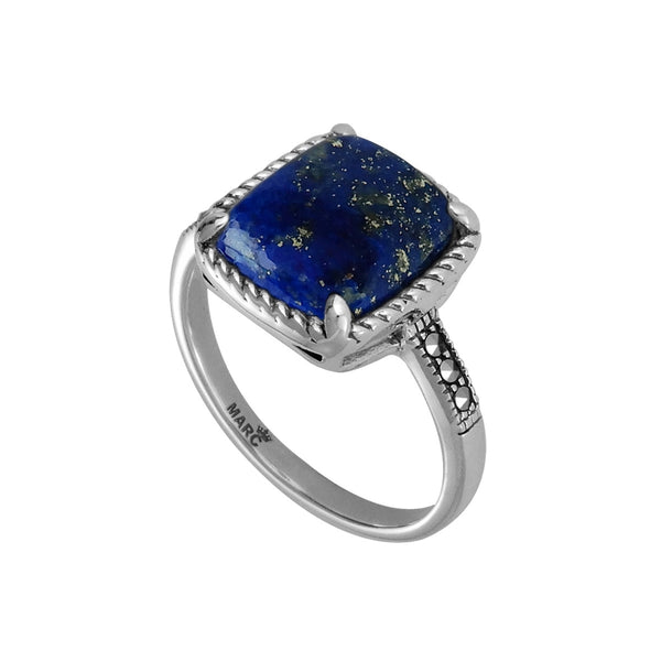 Cushion Shape Lapis and Marcasite Ring, Sterling Silver