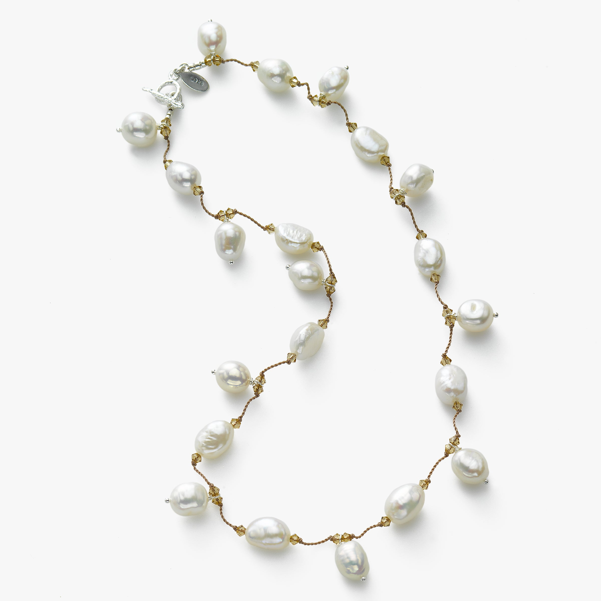Dangle Freshwater Pearl and Swarovski Crystal Necklace, Sterling Silver, by Margo Morrison
