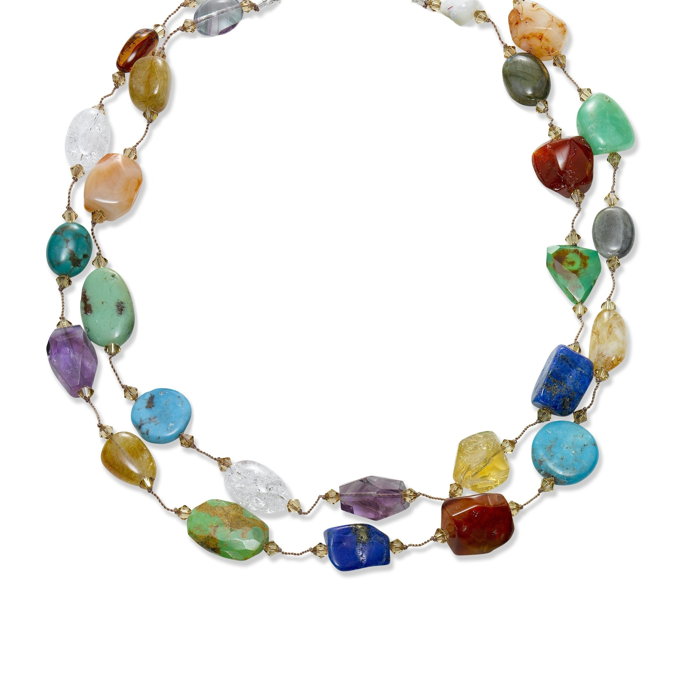 Two Strand Large Gemstone and Swarovski Crystal Necklace