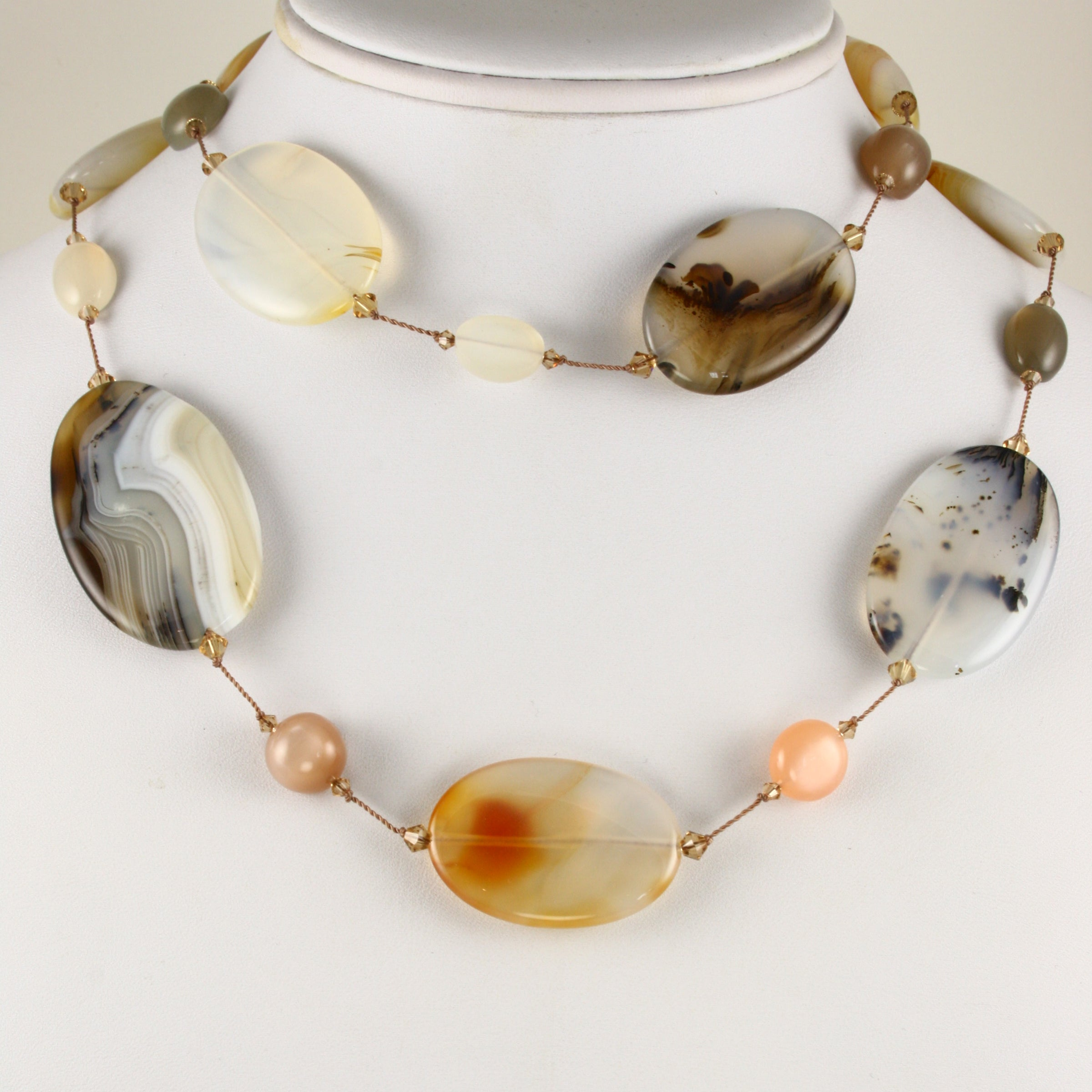 'Montana' Agate and Gemstone Necklace, 35 Inches, Sterling Silver
